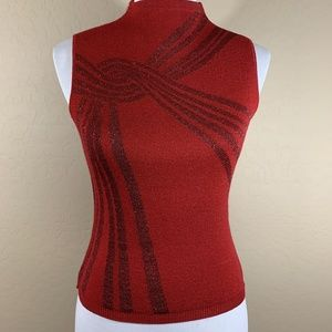 Bebe Shiny Red Blouse Top